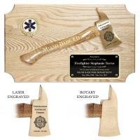 Ceremonial Firefighter Small Axe Plaque Oak