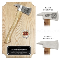 Ceremonial Firefighter Chrome Axe Oak Plaque