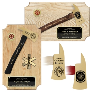 Small Engraved Oak Firefighter Gold Plated Axe Award Plaques