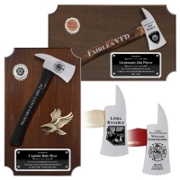 Small Engraved Walnut Firefighter Chrome Plated Axe Award Plaques