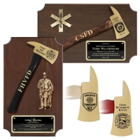 Small Engraved Walnut Firefighter Gold Plated Axe Award Plaques