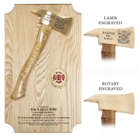 "Vertical Small 15"" Brass Axe Oak Plaque"