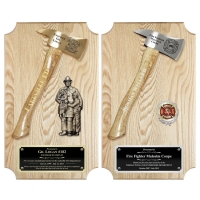 Oak Vertical Firefighter Axe Plaques