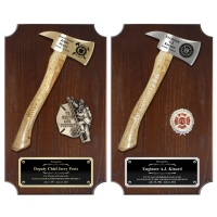 Walnut Vertical Firefighter Axe Plaques
