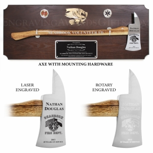 Walnut Axe Award Plaque with Chrome Axe and Mounting Hardware