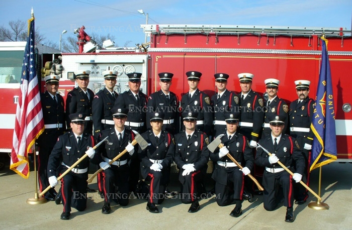"Edgarton FD with Ceremonial Firefighter 36"" Aluminum Axes"