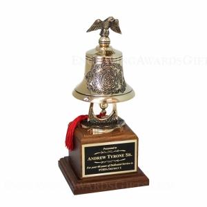 Firefighter Cast Bronze Bell on Walnut Base