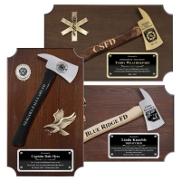 Small Engraved Walnut Firefighter Axe Award Plaques