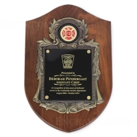 "10 1/2"" X 16"" Genuine Walnut Engraved Firefighter Shield Plaque Awards"