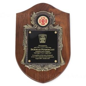 "10 1/2"" X 16"" Genuine Walnut Engraved Firefighter Shield Plaque Awards"