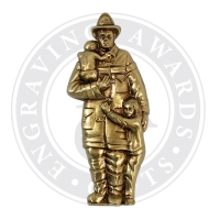 Fireman with Children Metal Casting