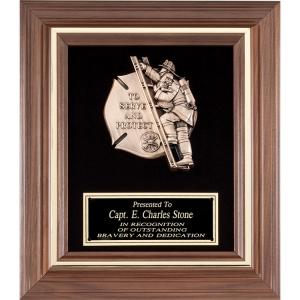 "11-1/2"" x 13-1/2"" Genuine Walnut Engraved Firefighter Frame Plaque Award"