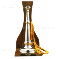 Solid Brushed Satin Pewter Trumpet on Walnut Display Stand