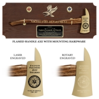 Large Engraved Wlanut Firefighter Gold Plated Axe Award Plaques
