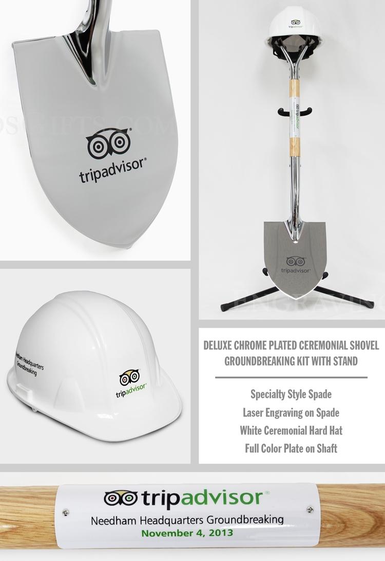 Deluxe Chrome Plated Ceremonial Shovel Groundbreaking Kit - Personalized